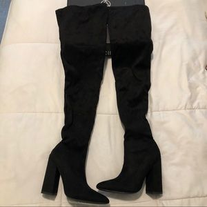 Black over the knee flared heel boots
